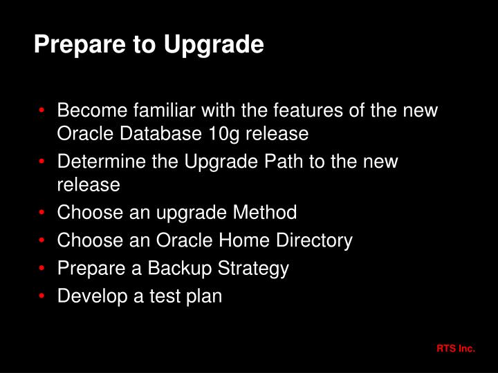 Prepare to Upgrade
