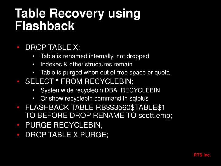 Table Recovery using Flashback