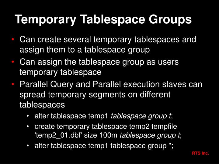 Temporary Tablespace Groups