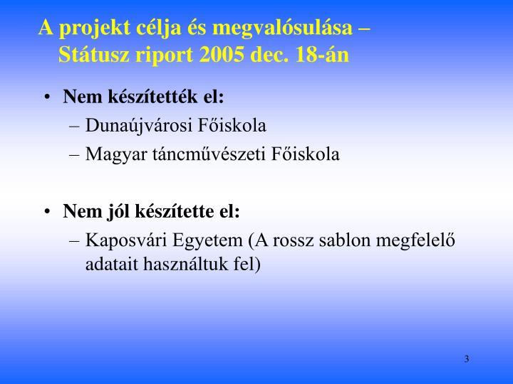 A projekt célja és megvalósulása – Státusz riport 2005 dec. 18-án