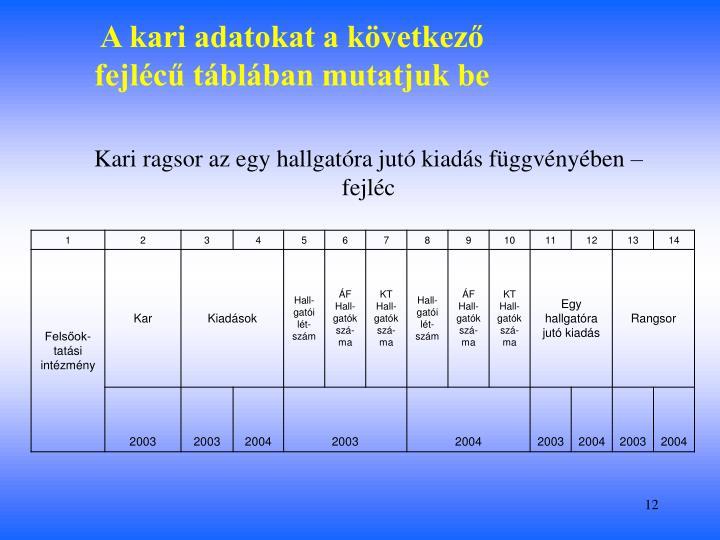 A kari adatokat a következő fejlécű táblában mutatjuk be