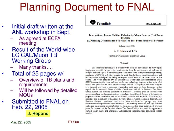 Planning Document to FNAL