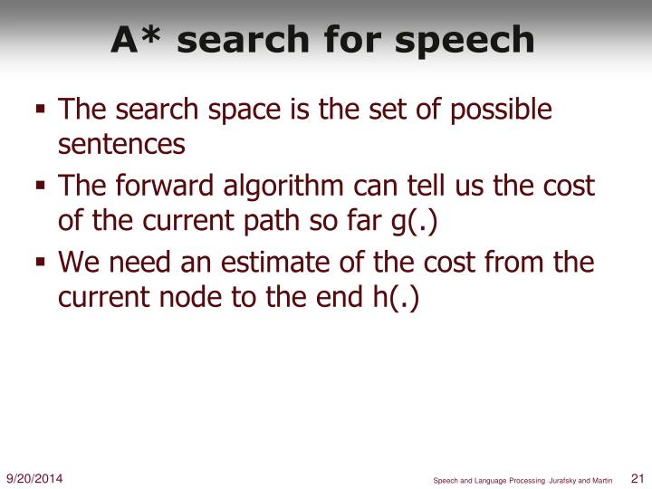 A* search for speech
