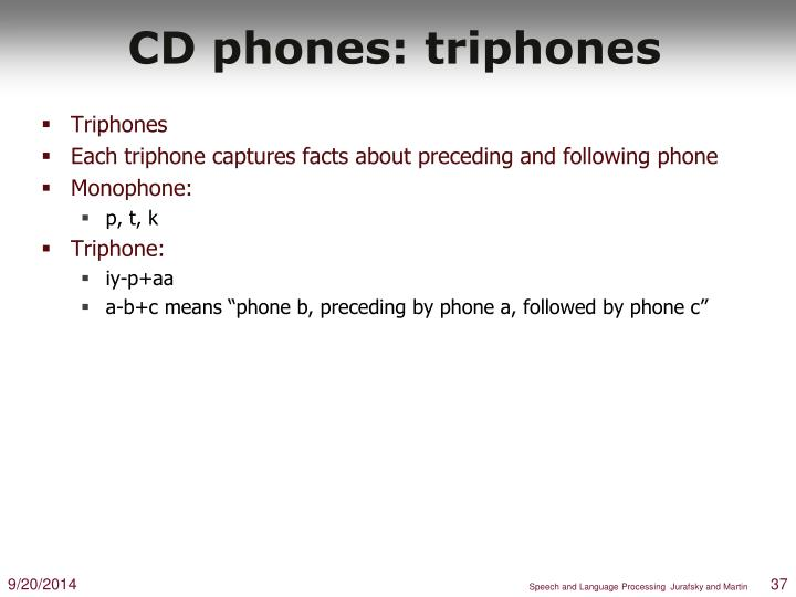CD phones: triphones