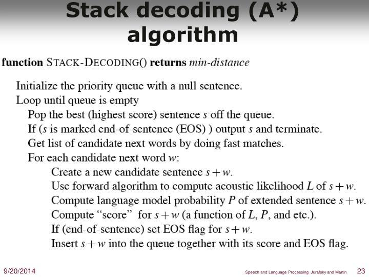 Stack decoding (A*) algorithm