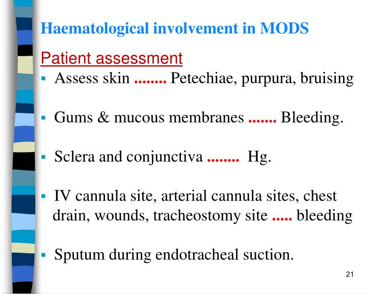 Haematological involvement in MODS