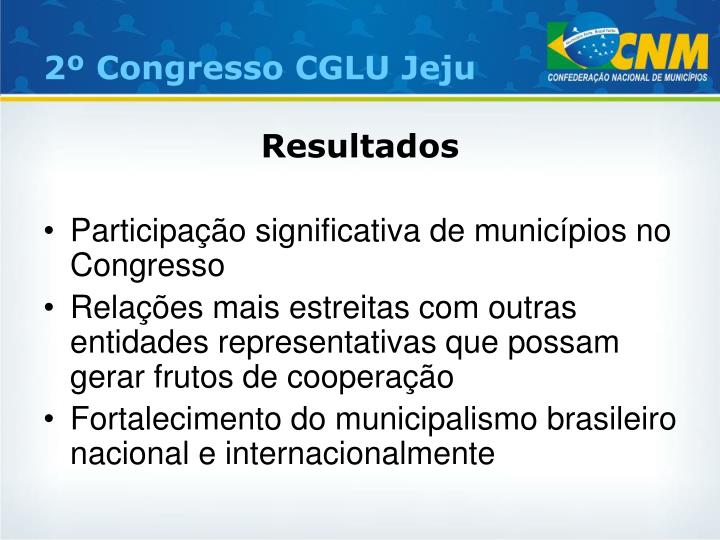 2º Congresso CGLU Jeju