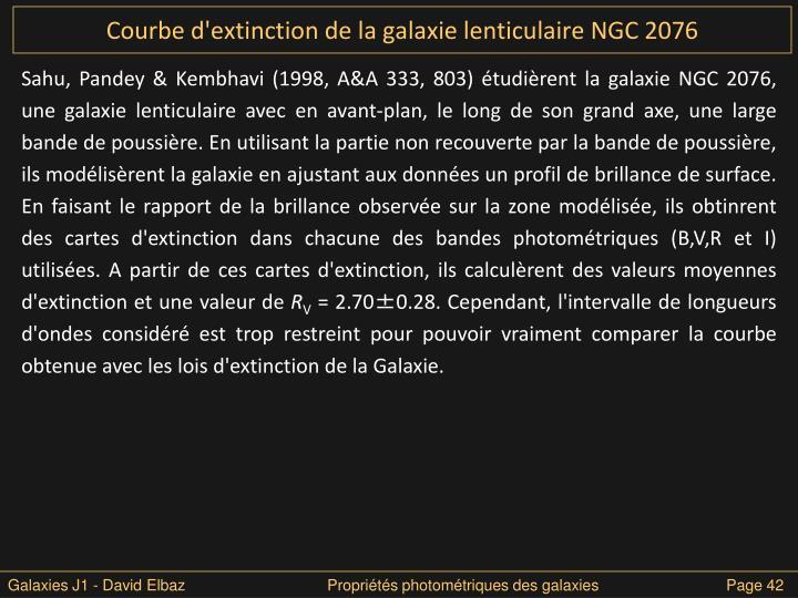 Courbe d'extinction de la galaxie lenticulaire NGC 2076