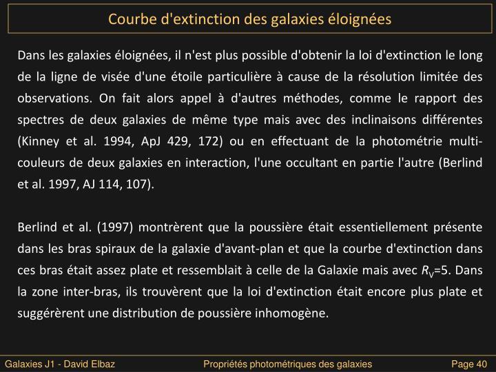 Courbe d'extinction des galaxies éloignées