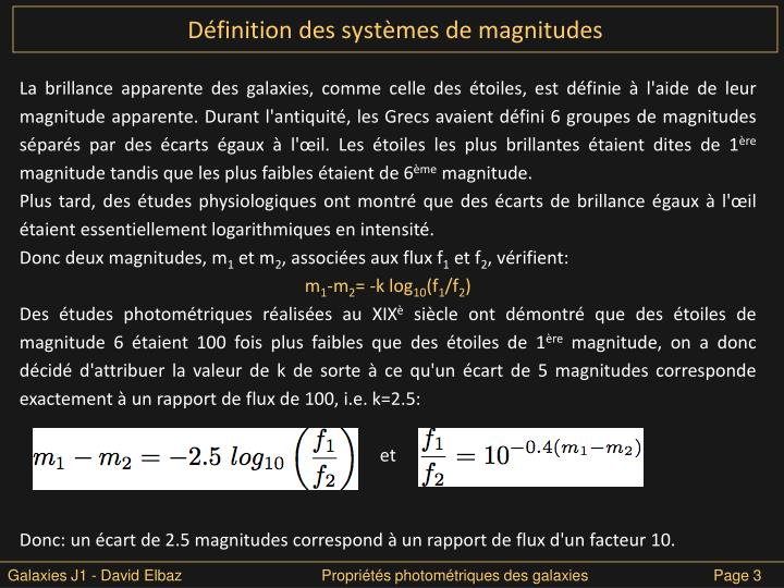 Définition des systèmes de magnitudes