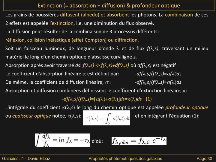 Extinction (= absorption + diffusion) & profondeur optique