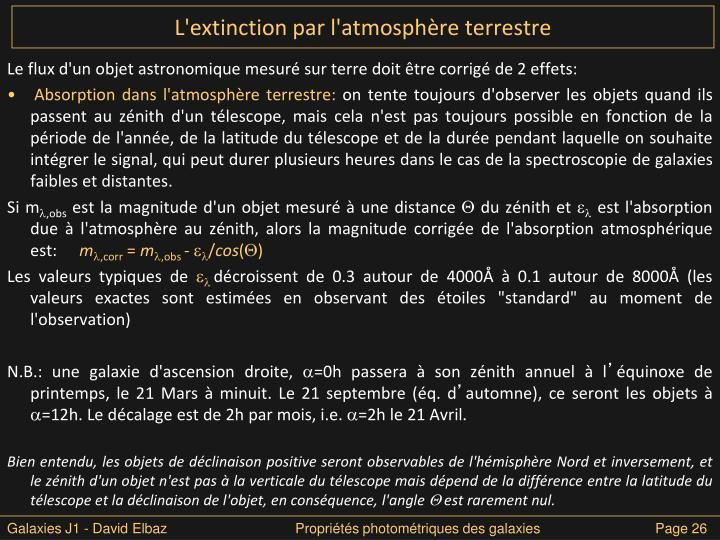 L'extinction par l'atmosphère terrestre