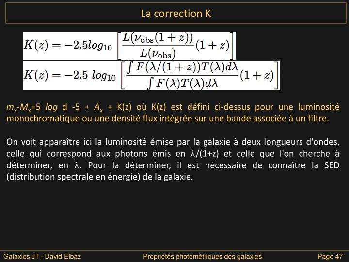 La correction K