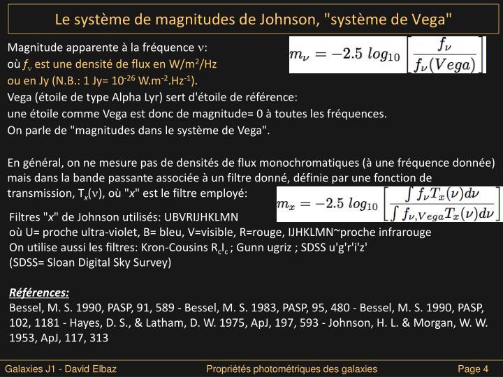"""Le système de magnitudes de Johnson, """"système de Vega"""""""