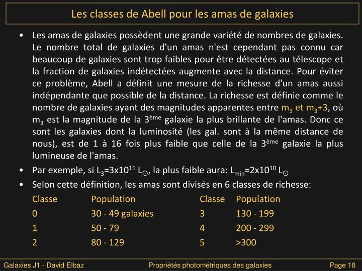 Les classes de Abell pour les amas de galaxies