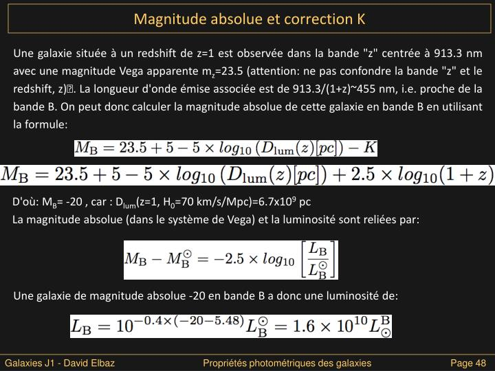 Magnitude absolue et correction K
