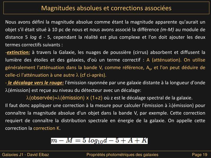 Magnitudes absolues et corrections associées