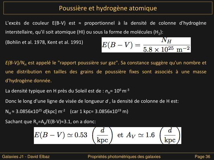 Poussière et hydrogène atomique