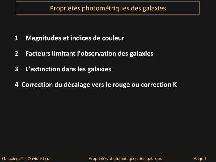 Propri t s photom triques des galaxies