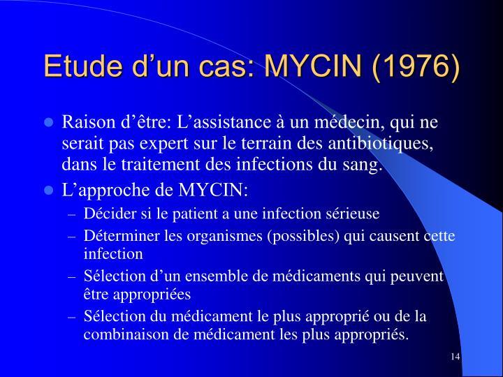 Etude d'un cas: MYCIN (1976)
