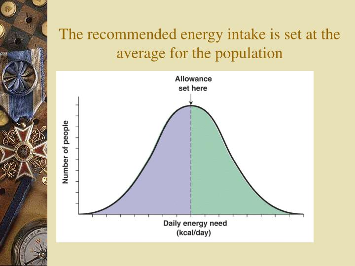 The recommended energy intake is set at the average for the population