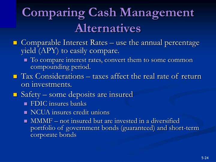 Comparing Cash Management Alternatives