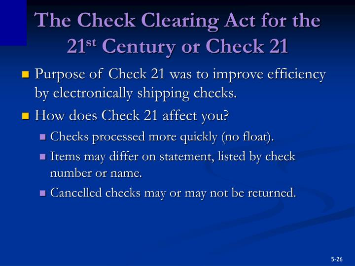 The Check Clearing Act for the 21