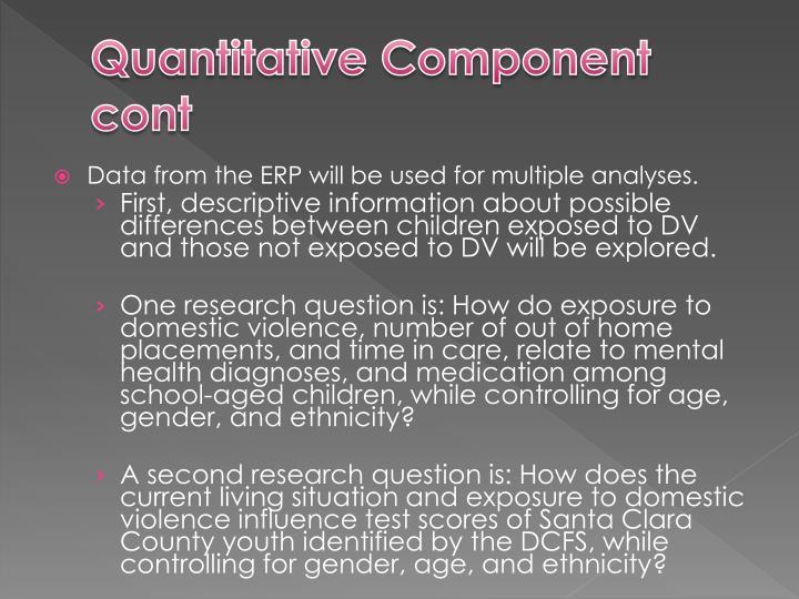 Quantitative Component cont