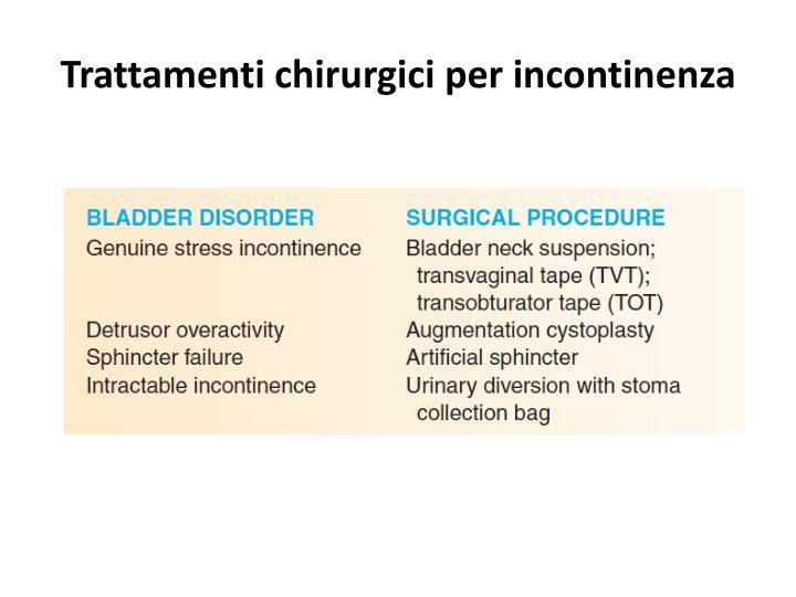 Trattamenti chirurgici per incontinenza