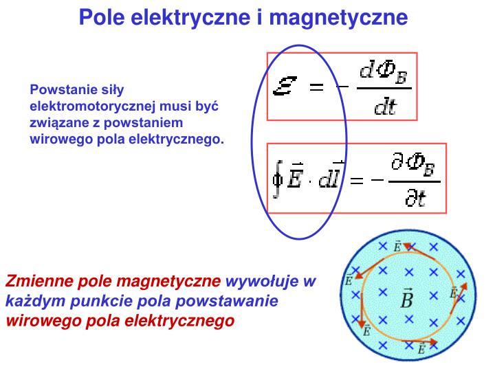 Powstanie siły elektromotorycznej musi być związane z powstaniem wirowego pola elektrycznego.