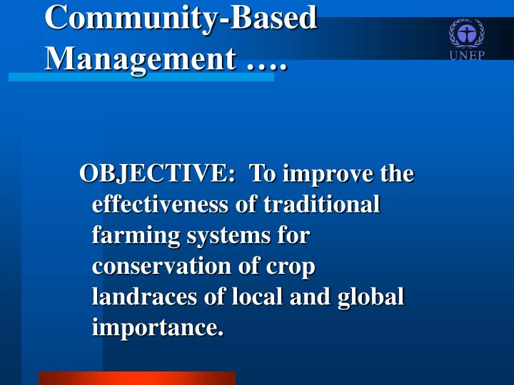 Community-Based Management ….