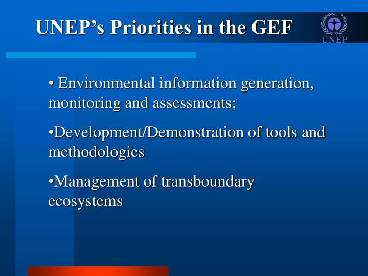 UNEP's Priorities in the GEF