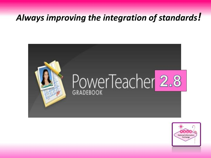 Always improving the integration of standards