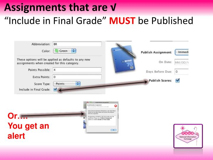Assignments that are √