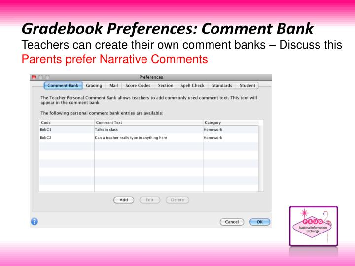 Gradebook Preferences: Comment Bank