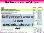 list parent and auto calculate