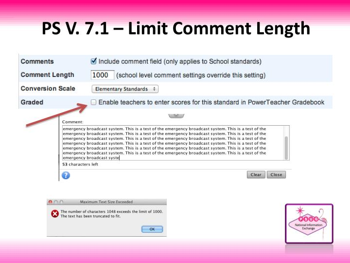PS V. 7.1 – Limit Comment Length