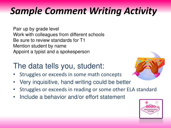 Sample Comment Writing Activity