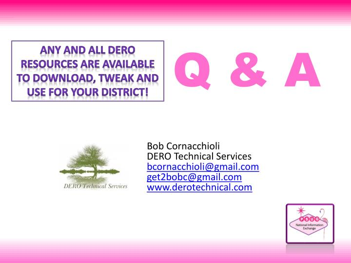 ANY AND ALL DERO RESOURCES ARE AVAILABLE
