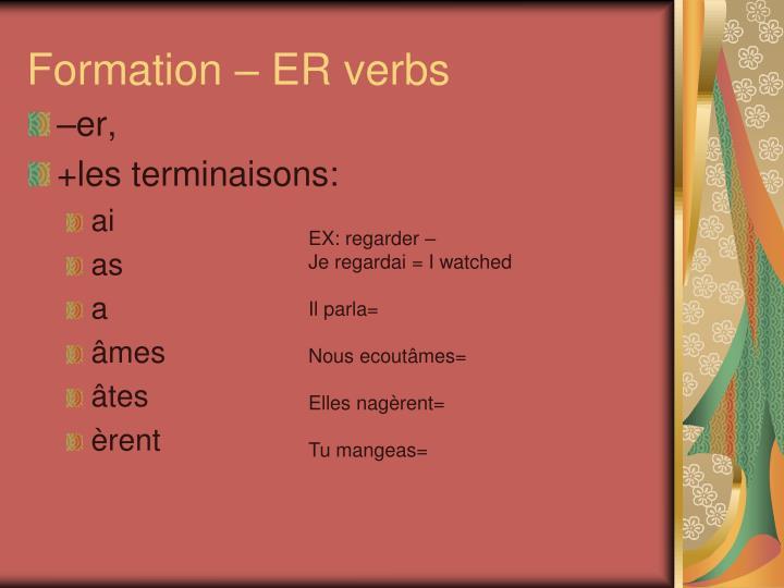 Formation – ER verbs