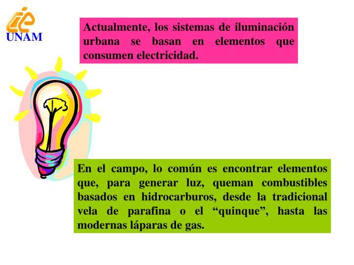 Actualmente, los sistemas de iluminación urbana se basan en elementos que consumen electricidad.
