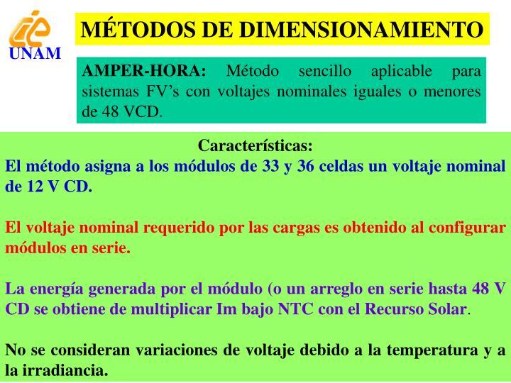 MÉTODOS DE DIMENSIONAMIENTO