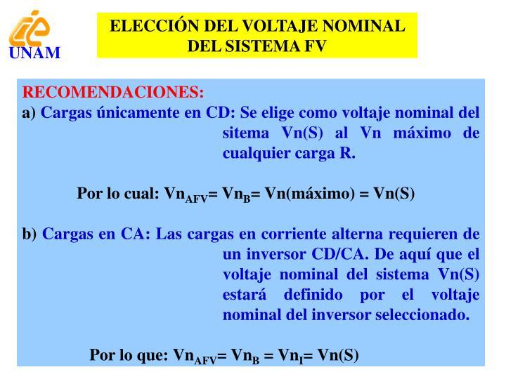 ELECCIÓN DEL VOLTAJE NOMINAL DEL SISTEMA FV
