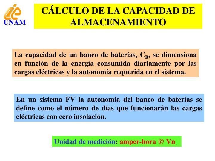 CÁLCULO DE LA CAPACIDAD DE ALMACENAMIENTO
