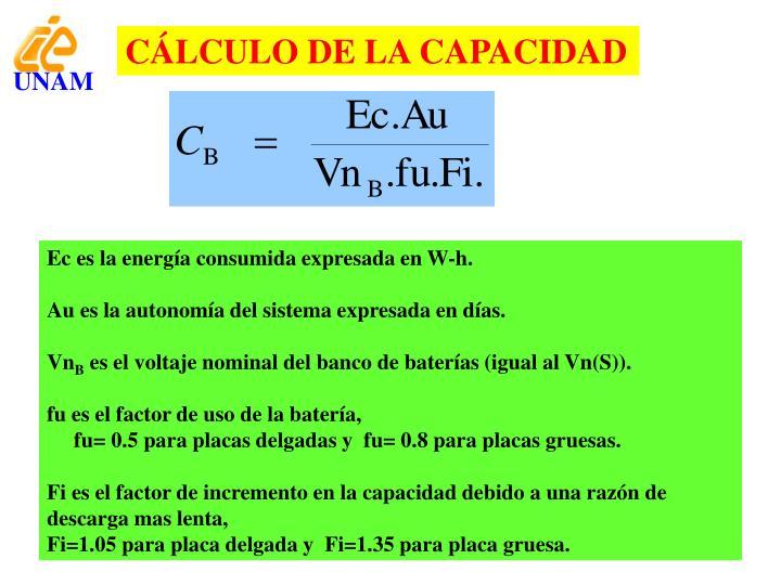 CÁLCULO DE LA CAPACIDAD