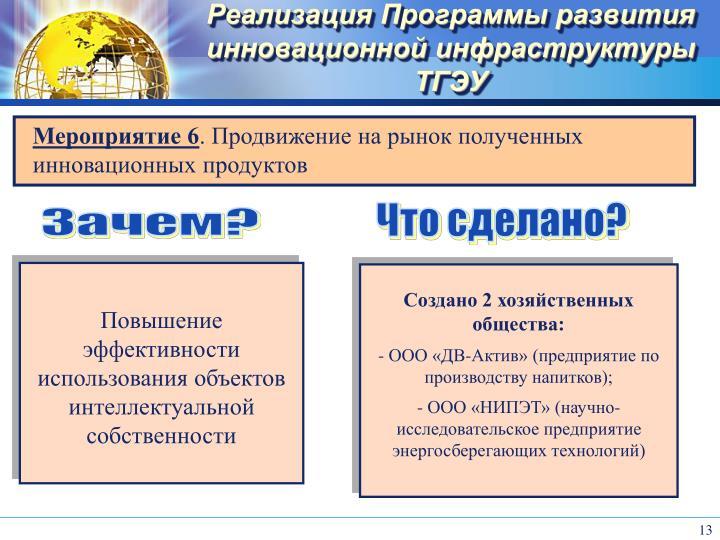 Реализация Программы развития инновационной инфраструктуры ТГЭУ