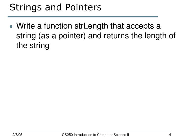 Strings and Pointers