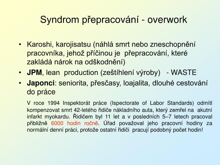 Syndrom přepracování - overwork