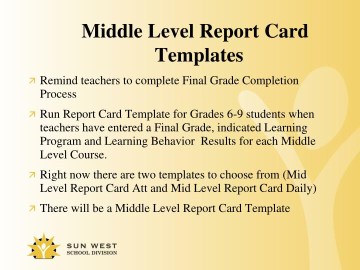 Middle Level Report Card Templates