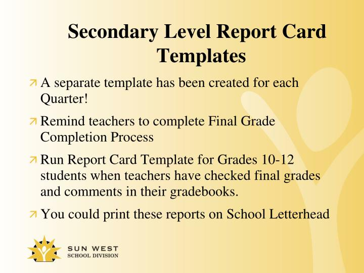Secondary Level Report Card Templates